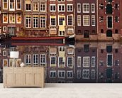 Amsterdam Houses Reflection mural wallpaper living room preview