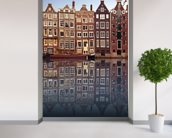 Amsterdam Houses Reflection mural wallpaper in-room view