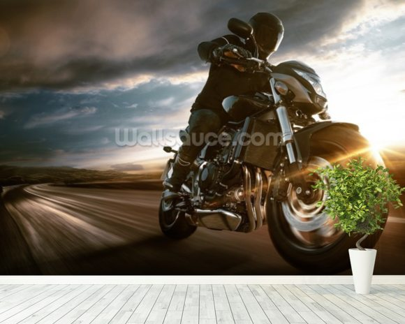 Fast Motorbike wall mural room setting