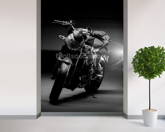 Motorcycle Black and White wall mural room setting