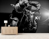 Motorcycle Black and White wall mural living room preview