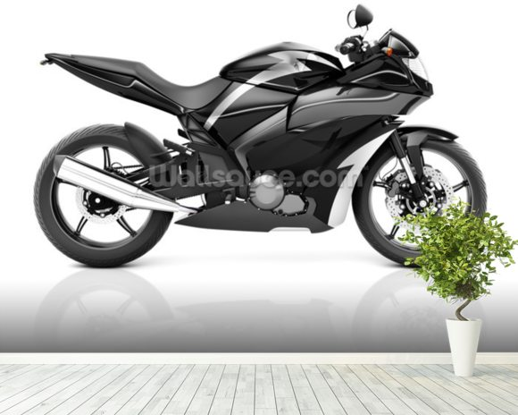 Black Motorbike mural wallpaper room setting