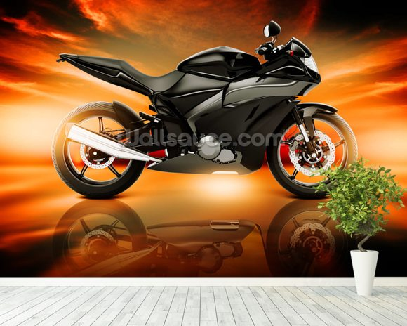 Motorcycle Skyline Horizon wall mural room setting