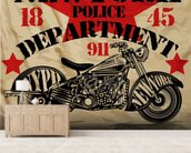 Motorcycle PD mural wallpaper living room preview