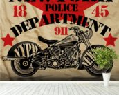 Motorcycle PD mural wallpaper in-room view