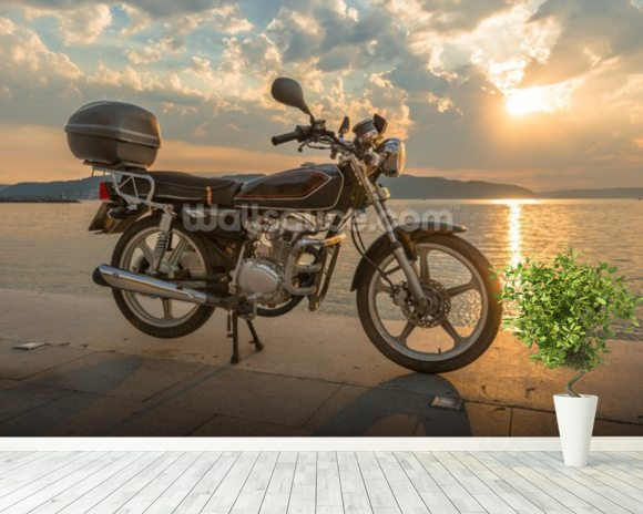 Motorbike Sunset wall mural room setting