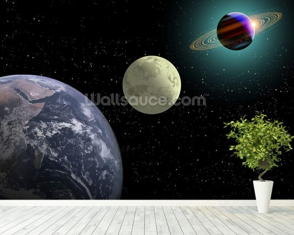 Earth moon and saturn with a new sun wallpaper wall mural for Earth rising wall mural
