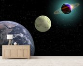 Earth Moon And Saturn With A New Sun wall mural living room preview