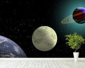Earth Moon And Saturn With A New Sun wall mural in-room view