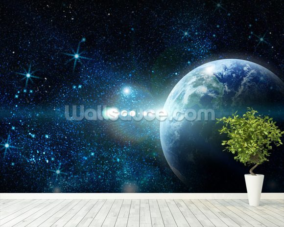 Realistic planet earth wallpaper wall mural wallsauce for Earth rising wall mural