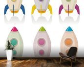 Retro Rocketship Set mural wallpaper kitchen preview
