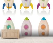 Retro Rocketship Set mural wallpaper living room preview