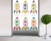 Retro Rocketship Set mural wallpaper in-room view