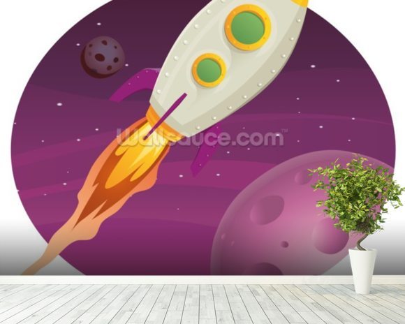 Rocket Ship mural wallpaper room setting