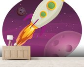Rocket Ship mural wallpaper living room preview
