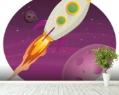 Rocket Ship mural wallpaper in-room view