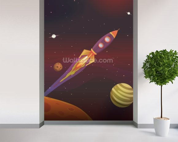 Cartoon Spaceship wallpaper mural room setting