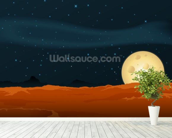 Lunar Desert Landscape mural wallpaper room setting