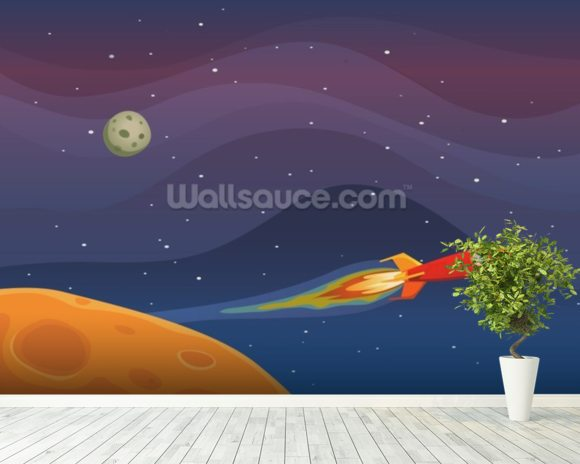 Spaceship Travel In Space wall mural room setting