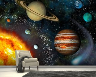 3D Solar System Mural Wallpaper Wall Murals Wallpaper