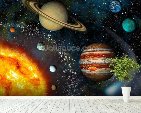 3d solar system wallpaper wall mural wallsauce australia for Space wallpaper for rooms