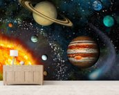 3D Solar System mural wallpaper living room preview