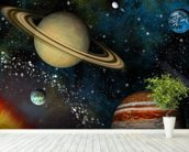 3D Solar System mural wallpaper in-room view