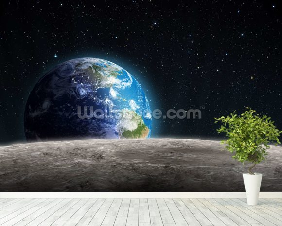 rising earth from the moon wallpaper wall mural wallsauce