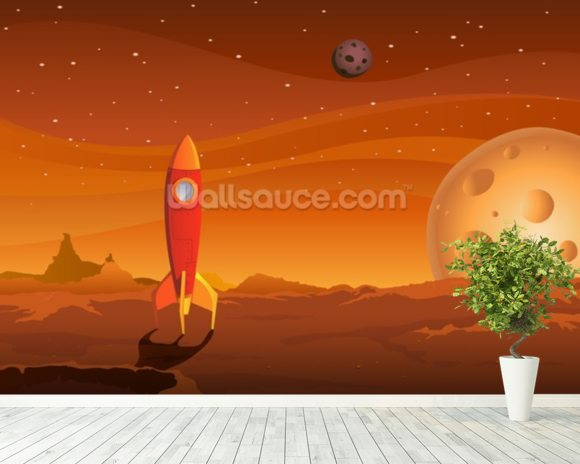Rocket on Alien Planet wallpaper mural room setting
