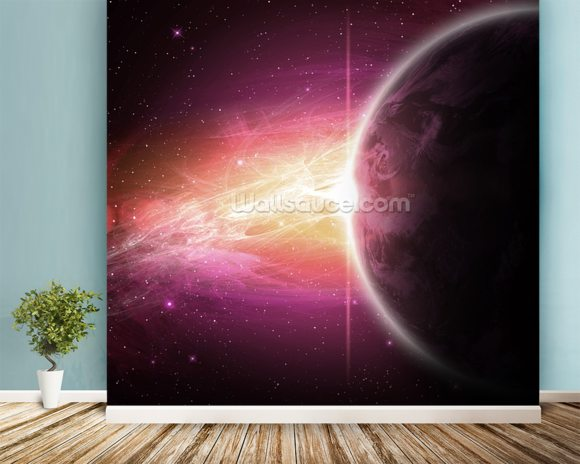Planet wall mural room setting