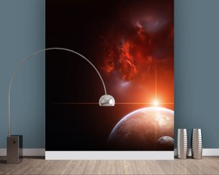 Earth with Planets and Red Nebula wallpaper mural