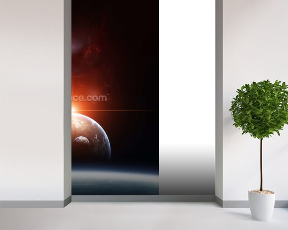 Earth with Planets and Red Nebula wallpaper mural room setting
