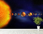 Solar System wall mural in-room view