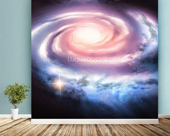 Distant Spiral Galaxy mural wallpaper room setting