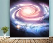 Distant Spiral Galaxy mural wallpaper in-room view