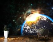 Asteroid Impact from Space wallpaper mural kitchen preview