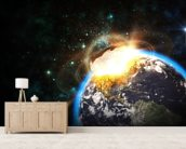 Asteroid Impact from Space wallpaper mural living room preview