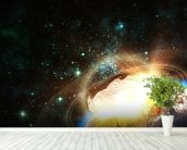 Asteroid Impact from Space wallpaper mural in-room view