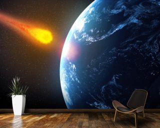 Asteroid hiting Earth wallpaper mural