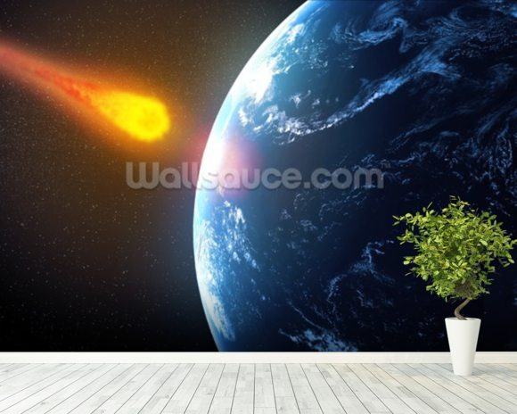 Asteroid hiting Earth wallpaper mural room setting