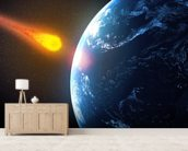 Asteroid hiting Earth wallpaper mural living room preview