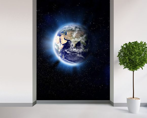 Earth Corona wallpaper mural room setting