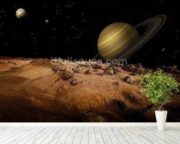 Outerspace Landscape mural wallpaper room setting