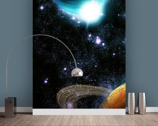 Abstract planet with sun flare in deep space - star nebula mural wallpaper