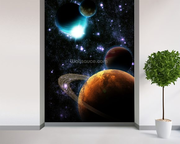 Abstract planet with sun flare in deep space - star nebula mural wallpaper room setting