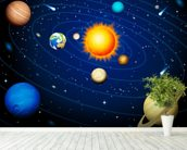 Solar System Orbits mural wallpaper in-room view