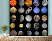 The Solar System wall mural in-room view