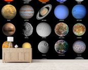 The Solar System wall mural living room preview