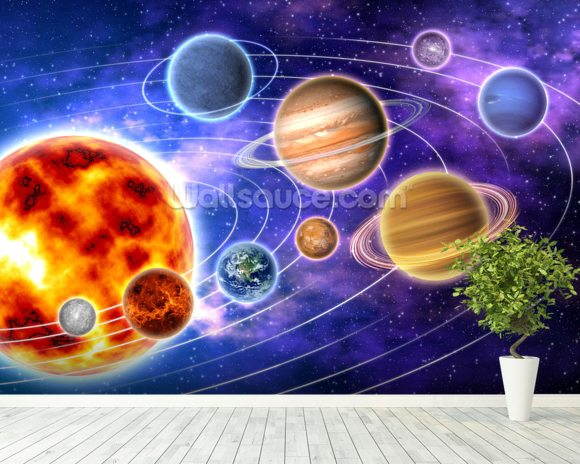 Solar System wallpaper mural room setting