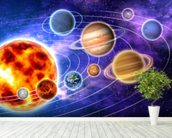 Solar System wallpaper mural in-room view